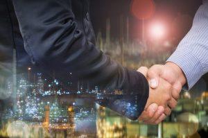 Handshake with customer